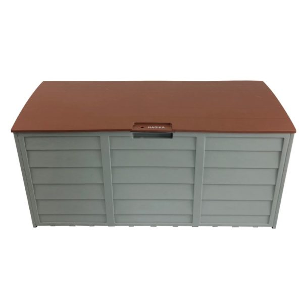 Brown HADIKA 290L Outdoor Storage Box | Space Saving, Movable and Lockable