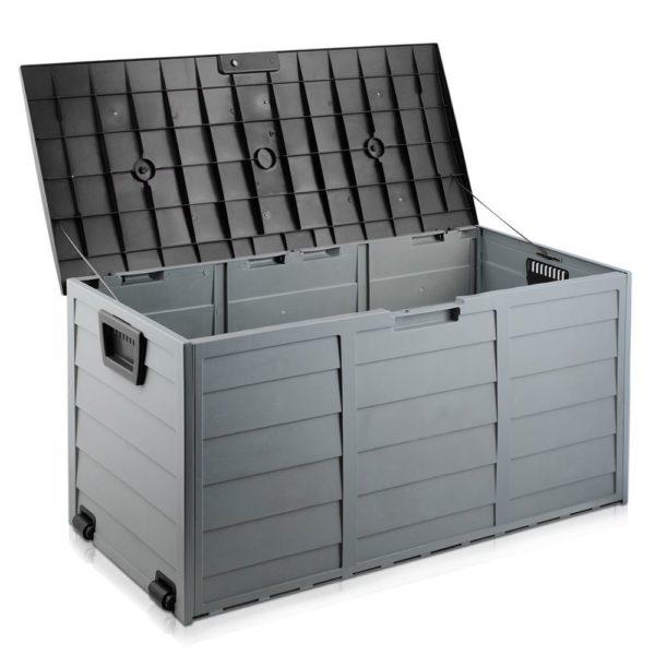 Black HADIKA 290L Outdoor Storage Box