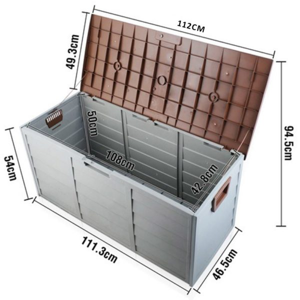 Brown HADIKA 290L Outdoor Storage Box Measurements
