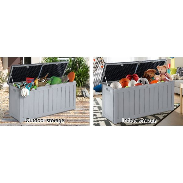 Outdoor Storage Box Bench Seat 240L Grey