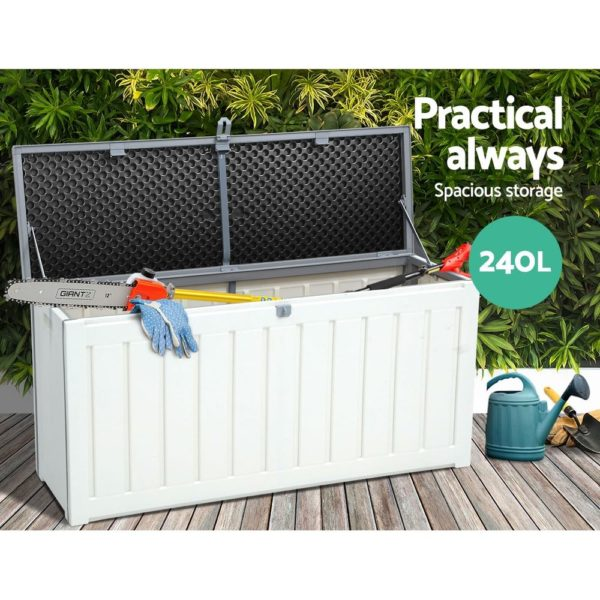Outdoor Storage Box Bench Seat 240L Black & White Grey