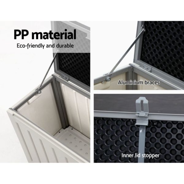 Outdoor Storage Box Bench Seat 240L Black & White Grey