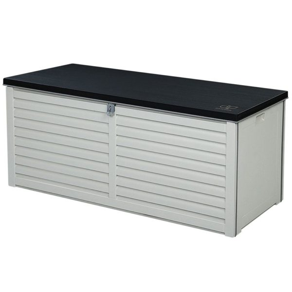 Outdoor Storage Box Bench Seat 390L Black & White Grey