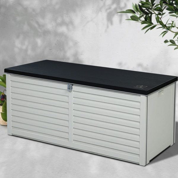 Outdoor Storage Box Bench Seat 390L Black & White Grey