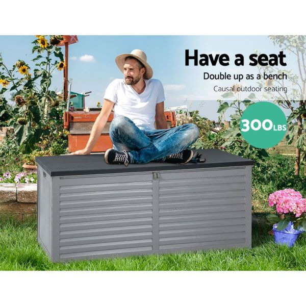 Outdoor Storage Box Bench Seat 490L Black & White Grey