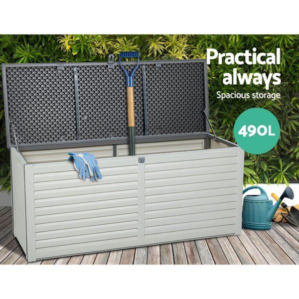 Outdoor Storage Box Bench Seat 490L Black & White Grey